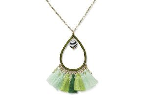 Boho Betty Bahiti Green Tassel Necklace
