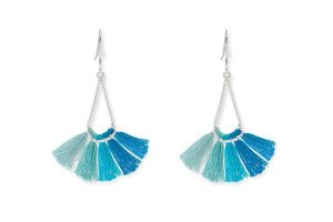 Boho Betty Aqua Tassel Earrings
