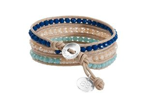 Boho Betty Triple Leather Wrap Blue/Cream